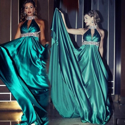 Gorgeous High Neck Sleeveless Prom Dress UK With Crystals_1