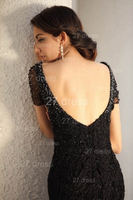 Black Scoop Lace Evening Dress UKes UK Short Sleeve Beadings Mermaid Prom Gowns_7