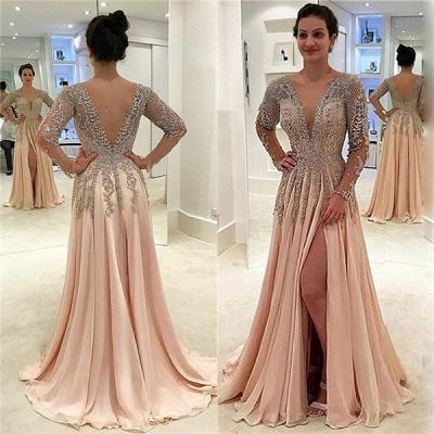 V-neck Long Sleeves Front Slit Floor Length Chiffon Evening Dresses_3