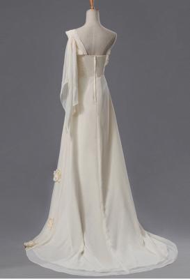 Newest One Shoulder Flowers Wedding Dress A-line_2