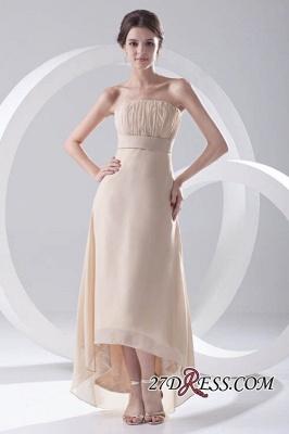 Strapless Sexy Sleeveless Hi-lo Light-Champagne Chiffon Sheath Bridesmaid Dress UKes UK_6