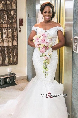 Off-the-shoulder Sexy Mermaid  Lace Tulle Wedding Dress_5