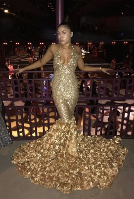 Elegant gold mermaid prom Dress UK, sequins evening party gowns BK0_3