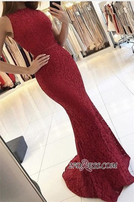 Sexy Sweep-Train Lace Sleeveless Red Mermaid Prom Dress UKes UK BA6561_2