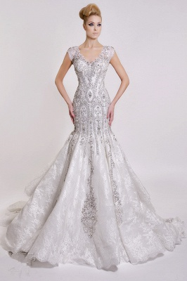 Luxurious V-Neck Wedding Dress Sexy Mermaid Crystals Lace_1