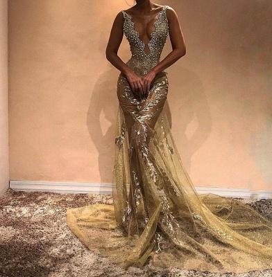 Gorgeous Beads Straps Sleeveless Mermaid Evening Gown | Long Evening Dress UK_3