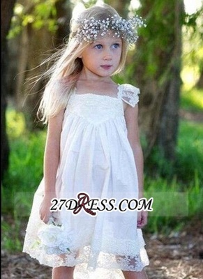 Back Cute Flower Crisscross Capped-Sleeves Girls Dresses