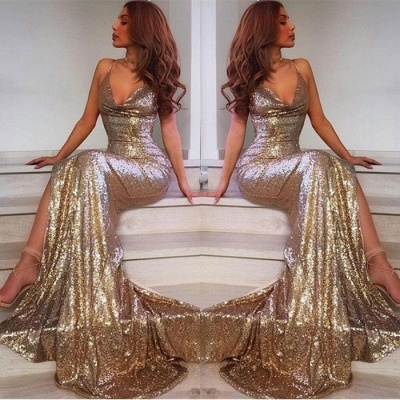 V-Neck Sequins Prom Dress UK | Mermaid Evening Dress UK With Slit_3