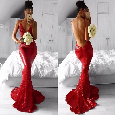 Elegant Red Sequins Prom Dress UK Backless Mermaid Long Party Gowns BA7966_3