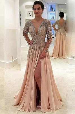 V-neck Long Sleeves Front Slit Floor Length Chiffon Evening Dresses