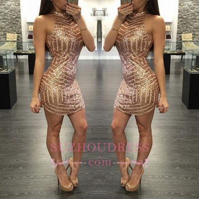 Sequins Halter-Neck Tight Sheath Short Homecoming Dress UKes UK_1