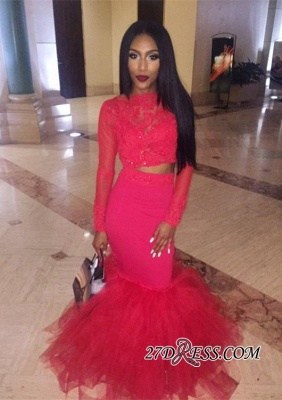 Mermaid Jewel Lace Red Tulle Long-Sleeve Elegant Prom Dress UK BK0 BA5411_1