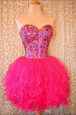 Lovely Sweetheart Sleeveless Short Homecoming Dress UK Beadings Crystals Lace-up Ruffles Cocktail Gown_6