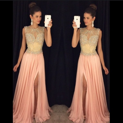 Delicate Beadings Chiffon Illusion Prom Dress UK Front Split Sleeveless AP0_3