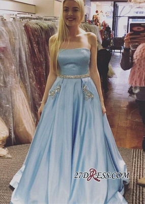 Sleeveless A-line Newest Crystals Sky-Blue Strapless Prom Dress UK_2