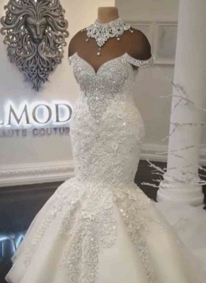 Glamorous Crystals  Sexy Mermaid Wedding Dresses UK | Off-the-Shoulder Appliques Bridal Gowns_2