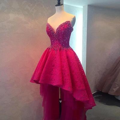 Hi-lo Lace Gorgeous Beadings Sweetheart Homecoming Dress UK_2