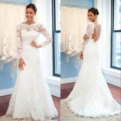 Elegant Lace Long Sleeve Wedding Dress White Sweep Train_3