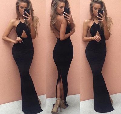 Elegant Backless Halter prom Dress UK Floor Length Mermaid Split BA3559_3