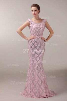 Pink Mermaid Prom Gowns Sash Bowknot Evening Dress UKes UK with Beadings_1