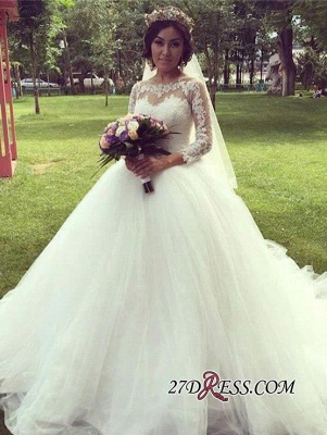 Ball-Gown Long-Sleeve Tulle Elegant Lace Princess Wedding Dress_4