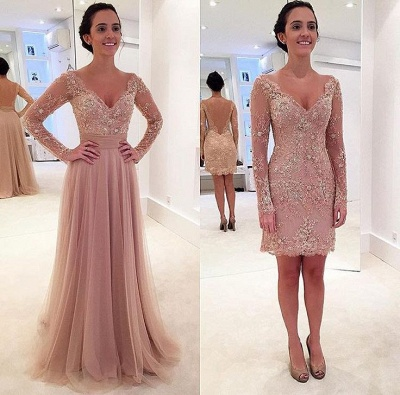 Sexy Long Sleeve Lace Appliques Evening Dress UK Tulle Detachable_2