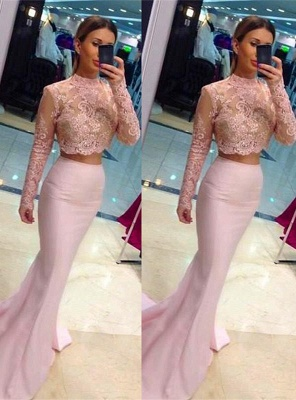 Elegant High Neck Lace Appliques Pink Prom Dress UK Mermaid Two Piece_1