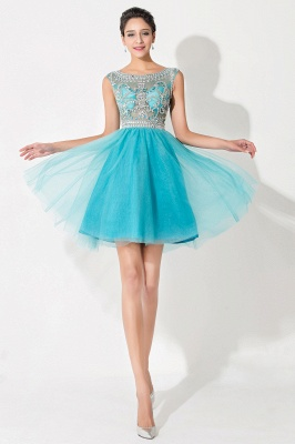 Modern Illusion Cap Sleeve Tulle Homecoming Dress UK With Crystals_1