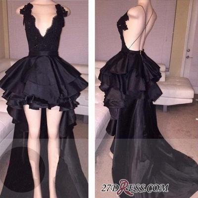 Cocktail Black Layered Lace Elegant Short Hi-Lo Prom Dress UK_1