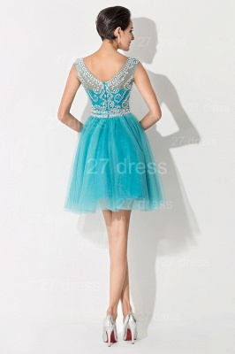 Modern Illusion Cap Sleeve Tulle Homecoming Dress UK With Crystals_5