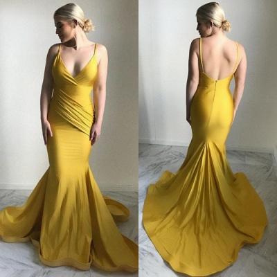 Sexy V-Neck Evening Dress UK | 2019 Mermaid Yellow Prom Dress UK_3