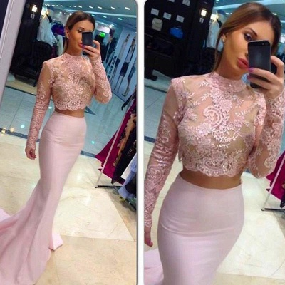 Elegant High Neck Lace Appliques Pink Prom Dress UK Mermaid Two Piece_2