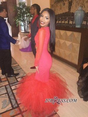Mermaid Jewel Lace Red Tulle Long-Sleeve Elegant Prom Dress UK BK0 BA5411_3