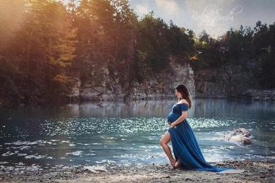 Elegant Maternity Front-Split Sweep-Train A-line Off-the-shoulder Prom Dress UK_2