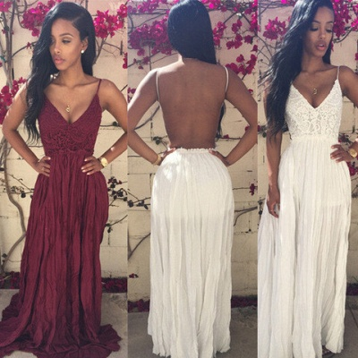 Sexy V-neck Sleeveless Long Prom Dress UK With Lace Appliques_2