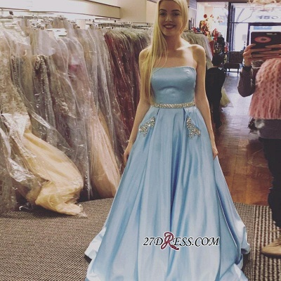 Sleeveless A-line Newest Crystals Sky-Blue Strapless Prom Dress UK_1