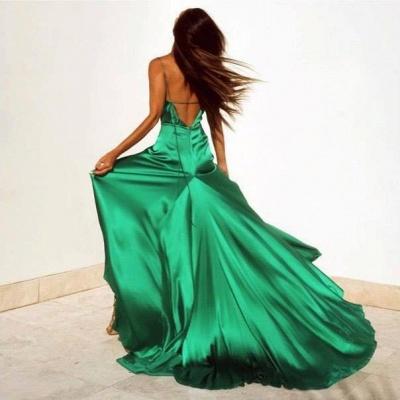 Elegant Green V-Neck Prom Dress UKes UK Floor Length With Split BK0_4