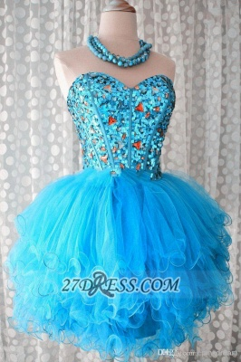 Lovely Sweetheart Sleeveless Short Homecoming Dress UK Beadings Crystals Lace-up Ruffles Cocktail Gown_5