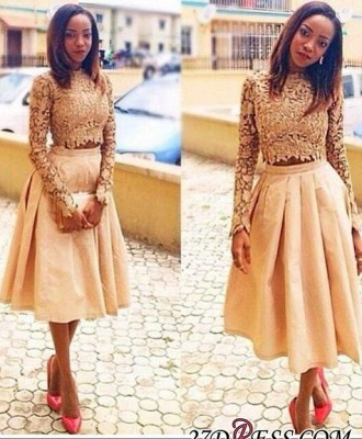 Tea-Length A-Line Modest Long-Sleeves Two-Piece Lace Homecoming Dress UKes UK LY102_3