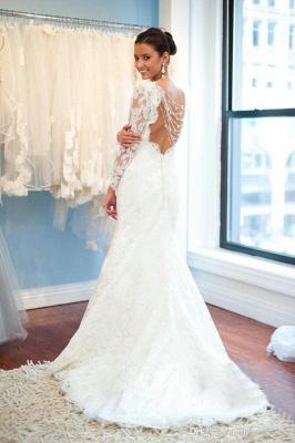 Elegant Lace Long Sleeve Wedding Dress White Sweep Train_2