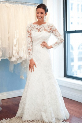 Elegant Lace Long Sleeve Wedding Dress White Sweep Train_1