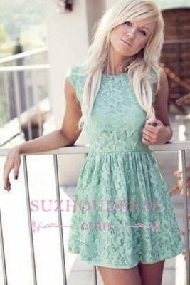 Mint Pretty Sexy Sleeveless New Lace Bateau Miniskirt Homecoming Dress UK_1