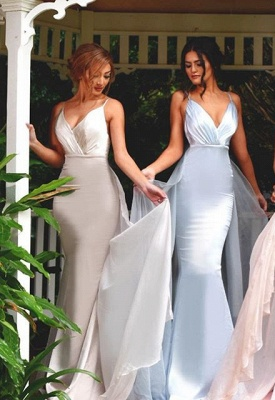 Timeless Spaghetti Straps V-Neck Bridesmaid Dress UK Long Ruffles Mermaid_1