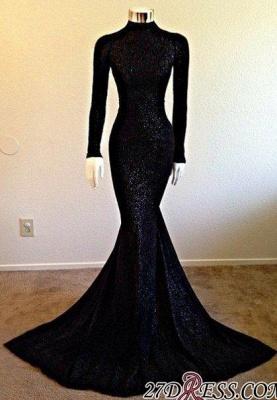 Modest Long-Sleeve Black High-Neck Mermaid Prom Dress UK sp0290_1