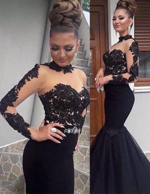 Luxury Black Lace Prom Dress UK Long Sleeve Mermaid Long Party Dress UK BA8045_1