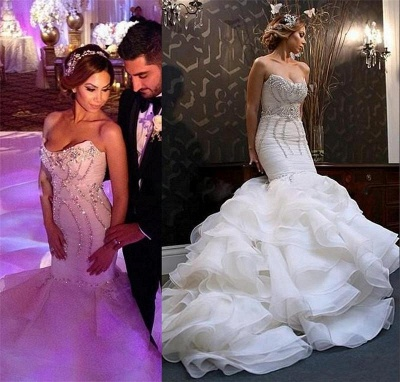 New Arrival  Sexy Mermaid Sweetheart Wedding Dreses Crystal Ruffles Bridal Gowns_3