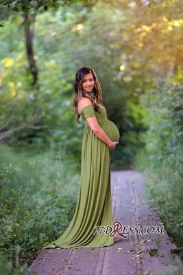 Elegant Maternity Front-Split Sweep-Train A-line Off-the-shoulder Prom Dress UK_3