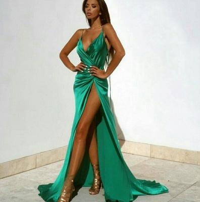 Elegant Green V-Neck Prom Dress UKes UK Floor Length With Split BK0_5