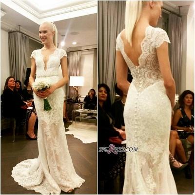 Cap-Sleeve Button Elegant Designer Floor-Length Lace Wedding Dress_1
