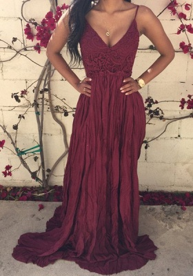 Sexy V-neck Sleeveless Long Prom Dress UK With Lace Appliques_1